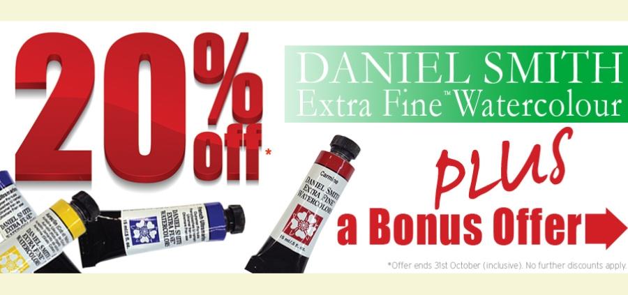20% OFF Daniel Smith Watercolours Plus Bonus offer