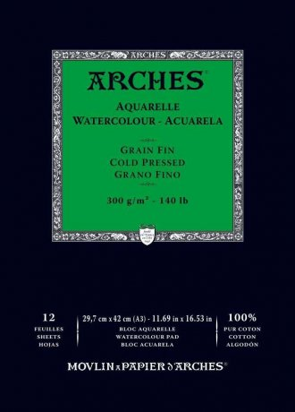 Arches Watercolour Pad 300gsm A3 Cold Pressed / Medium