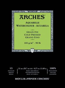 Arches Watercolour Pad 185gsm A4 Cold Pressed / Medium