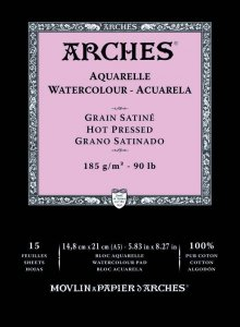 Arches Watercolour Pad 185gsm A5 Hot Pressed / Smooth